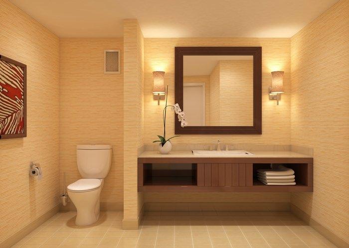 Bathroom With Warm Lighting.