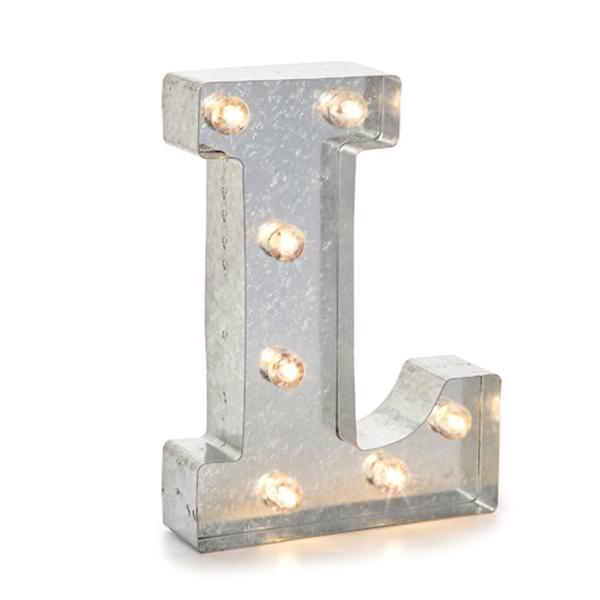 Darice 02823 Galvanized Silver Lighted Letter Symbol