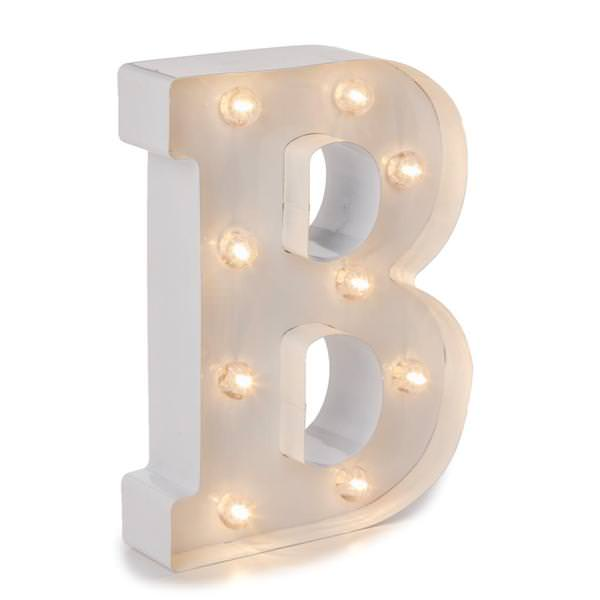 9 White Painted Metal Battery Operated Led Lighted Marquee Letter