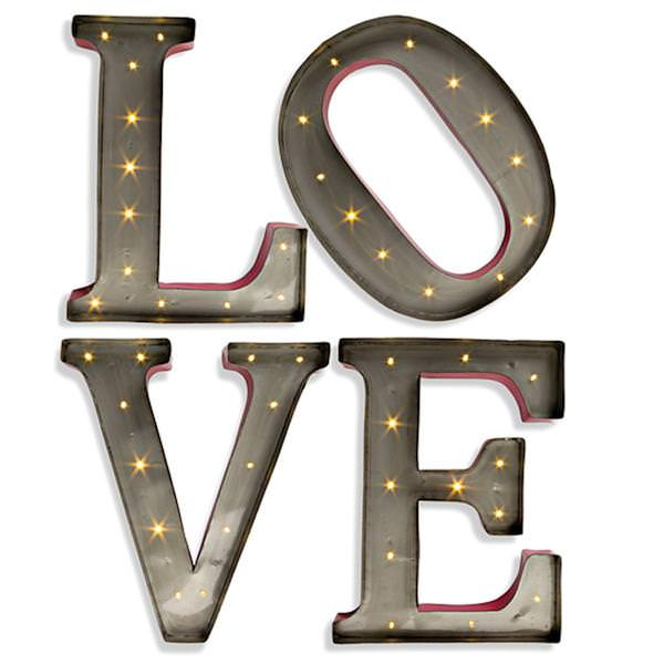 15 Metal Led Battery Operated Lighted Love Letters