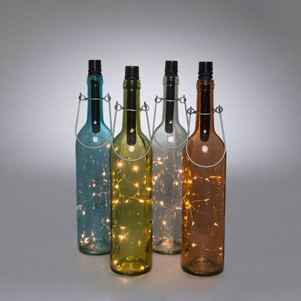 13 75 3 Orted Colors Clear Gl Battery Operated Warm White Led Lights Wine Bottle