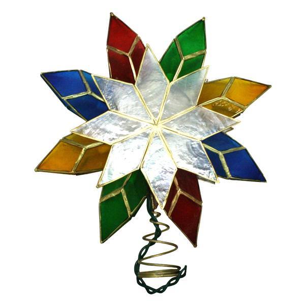 Kurt S Adler 04580 10 Light 8 5 Multi Color Capiz Star Christmas Tree Topper