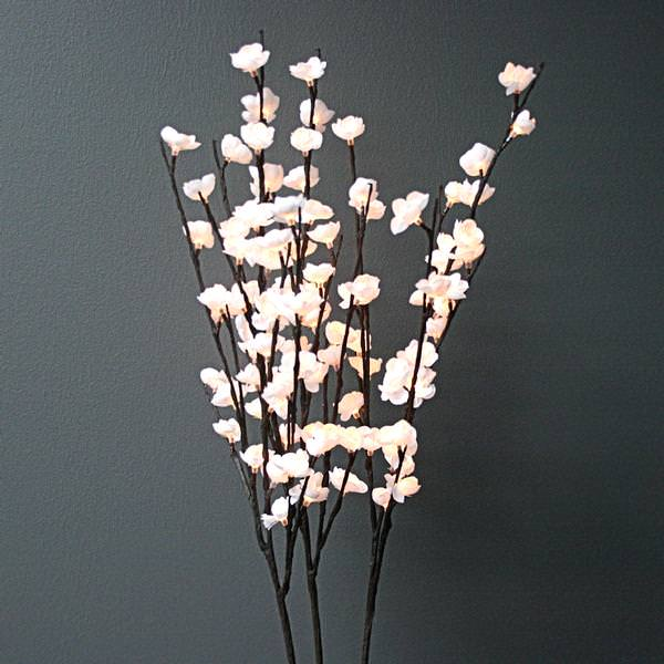 40 White Plum Nouveau Electric Lighted Branch 96 Clear Lights