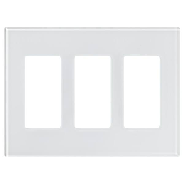Lutron LFGR-3-CWH, 3 Gang Glass Wallplate in Clear Glass with White Paint