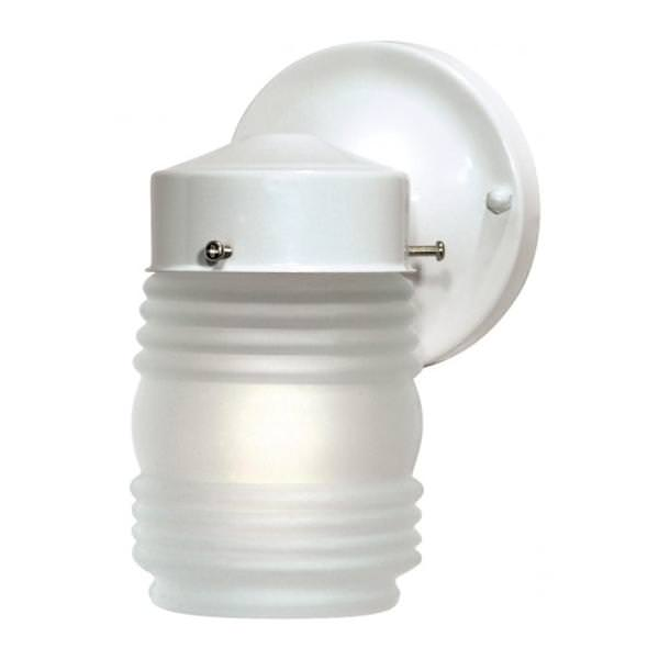 Nuvo Lighting 76702 1 Light Gloss White Frosted Mason Jar Outdoor Wall Fixture 1 Light 6 Porch Wall Mason Jar W Frosted Glass