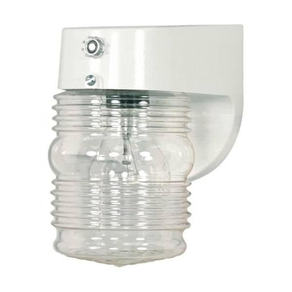 Nuvo Lighting 77862 1 Light White Clear Mason Jar Outdoor Wall Fixture With Photoelectric Sensor 1 Light 8 Porch Wall Clear Mason Jar W
