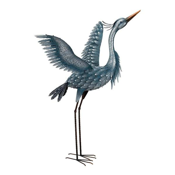 47 Metal Blue Heron Wings Up Decor