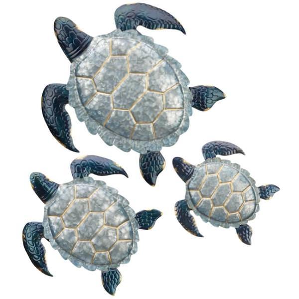 Regal Art Gift 12668 Galvanized Sea Turtle Wall Decor Set 3 Wall Decor Figurines