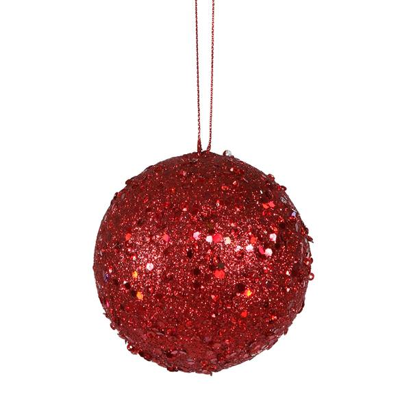 4 red jewel ball ornament - Jewel Colored Christmas Decorations