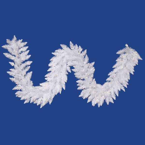 Vickerman 18446 9 X 14 Sparkle White Spruce 100 Pure White Frosted Italian Led Lights Christmas Garland A104214led