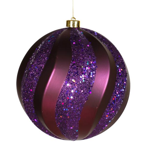 Vickerman purple colored christmas tree ball ornament