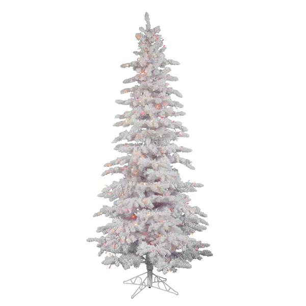 Vickerman 25270 6 5 X 39 Flocked White Slim 300 Multi Color Italian Led Lights Christmas Tree A893567led
