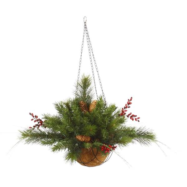Christmas Hanging Baskets.Vickerman 27487 12 X 20 Mixed Red Berry Cone Unlit Christmas Hanging Basket G121347