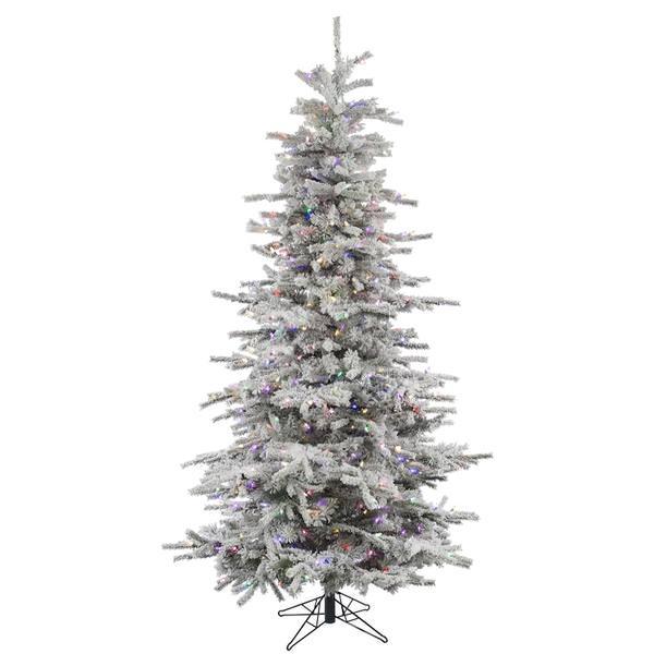 Slim Flocked Christmas Tree With Lights.Vickerman 31092 6 5 X 49 Flocked Slim Sierra 550 Multi Color Italian Led Lights Christmas Tree A862067led