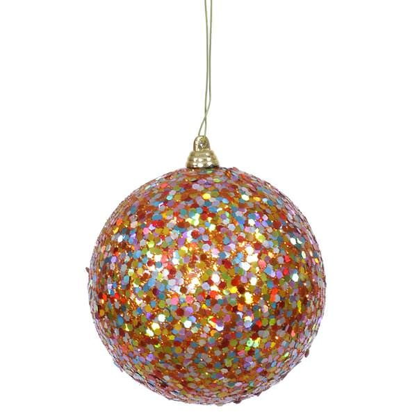 Christmas Decorations With Orange: Orange Colored Christmas Tree Ball Ornament