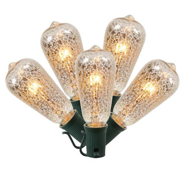 7 watt 120 volt st40 screw base clear crackle 5 pack - Antique Light Bulbs