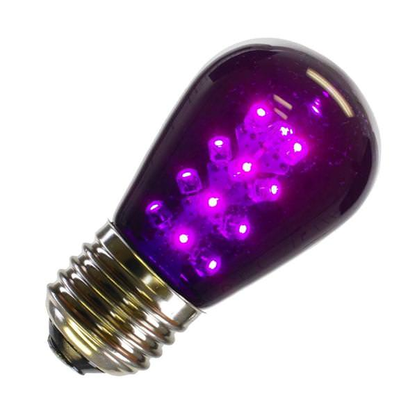 13 watt 130 volt s14 medium screw base purple transparent led