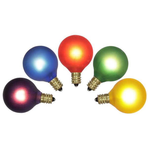 7 watt 120 volt g40 candelabra screw multi color twinkle bulb 5 pack