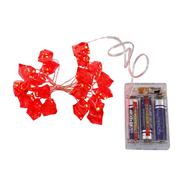 7 5 20 Light Copper Wire Red Ice Cube Battery Operated Led String With Timer