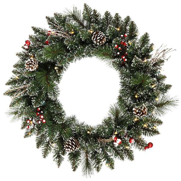 Prelit Christmas Wreath.Vickerman 421109 24 Snow Tipped Pine Cone Berry 35 Warm White Led Lights Christmas Wreath B166325led