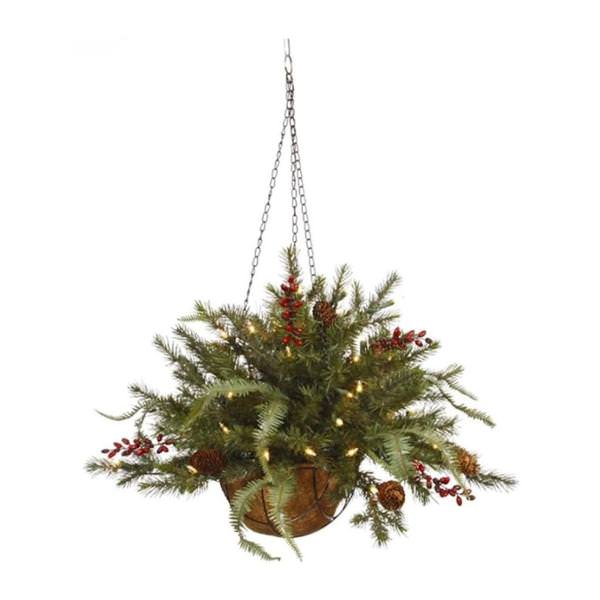 Christmas Hanging Baskets With Lights.Vickerman 448656 18 X 24 Mixed Pine 35 Warm White Lights With Timer Christmas Hanging Basket B160626led
