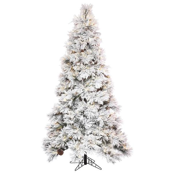 Vickerman 497388 7 5 X 49 Flocked Atka Pine Tree 950 Warm White Led Lights Christmas Tree K171176led