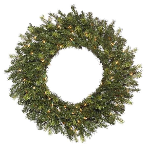 Prelit Christmas Wreath.Vickerman 499849 36 Oak Frasier Fir 100 Clear Miniature Lights Christmas Wreath K178437
