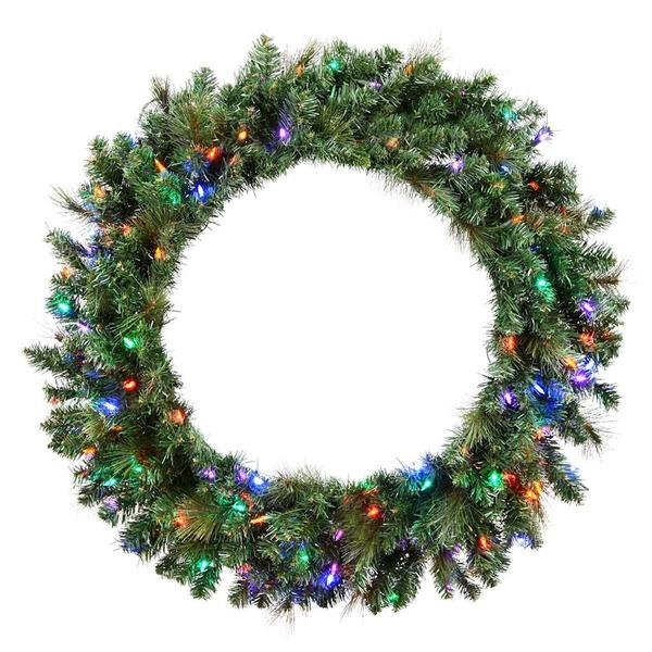 Prelit Christmas Wreath.Vickerman 516034 42 Mixed Brussels Pine 150 Multi Color Led Lights Christmas Wreath D172544led