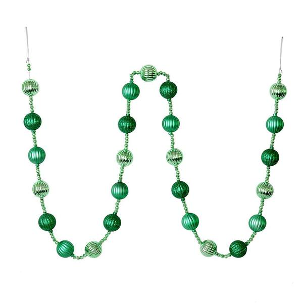 Christmas Ball Garland.Vickerman 544839 6 Seafm Green Stripe Ball Ornmnt Garlnd M183544 Christmas Garland Ornament