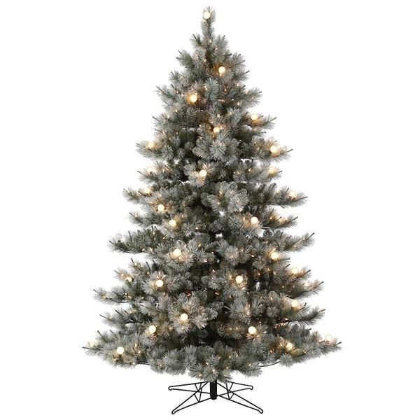 Vickerman 563021 7 5 X 59 Flocked Cayce Pine 650 Warm White Led Lights Christmas Tree G186876led