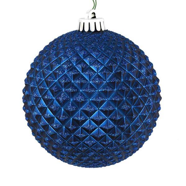 Vickerman 573112 6 Midnight Blue Durian Glitter Ball Christmas Tree Ornament 4 Pack N188731d