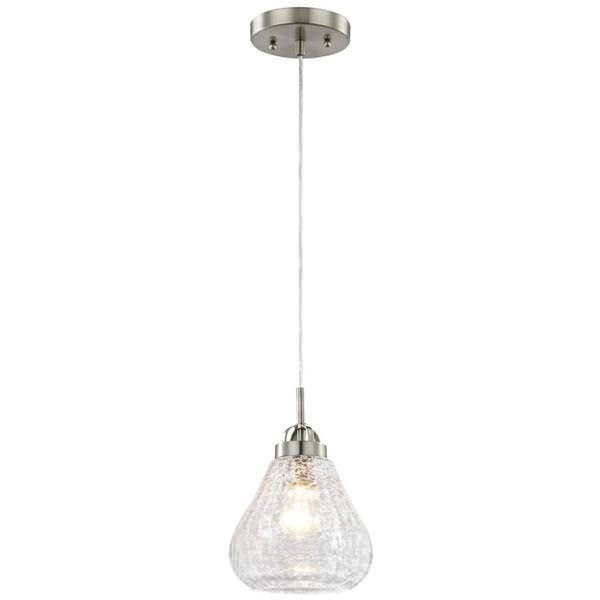 Westinghouse 63091 1 Light Brushed Nickel Clear Le Gl Mini Pendant 1lt Pend Bn W Clr Gls