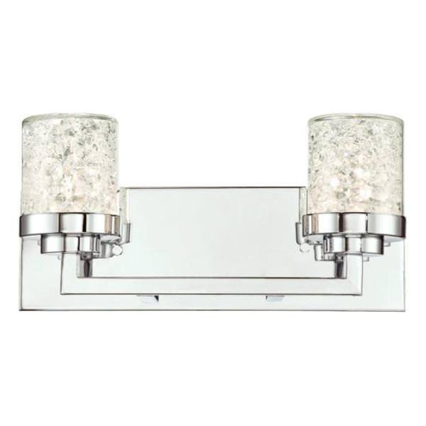 2 Light Chrome Floating Crystals In Clear Glass Shades Wall Fixture
