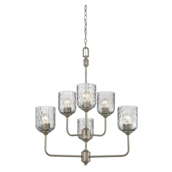 wholesale dealer 628f8 8afba Westinghouse 63263 - 6 Light Dark Pewter Smoke Grey Hammered Glass Shades  Chandelier Light Fixture (6 Light Basset Chandelier, Dark Pewter Finish)