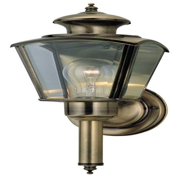 1 Light Antique Solid Brass Wall Fixture